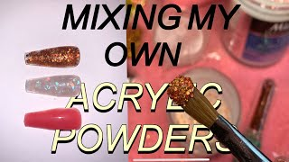 Mixing My Own Colored/Glitter Acrylic Powders || ft. Dollar Tree and Mia Secret
