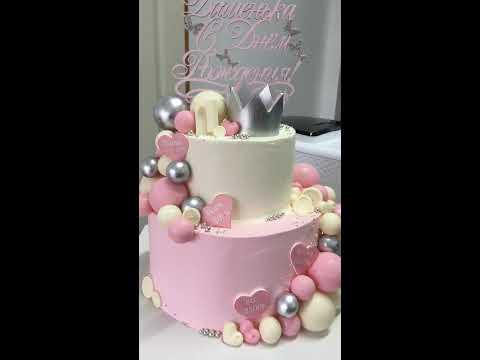 Торт на годик девочке/шоколадные шары/кейкпопсы/меренга