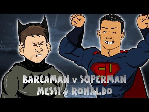 Messi vs Ronaldo: BATMAN v SUPERMAN (Cartoon Parody El Clasico 2016 Barcaman vs Superman)