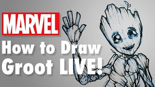 How To Draw Groot LIVE! | Marvel Comics