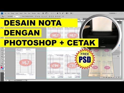 Desain dan Cetak Nota di Kertas F4 dibagi 4 Bagian di Photoshop - Tutorial Photoshop