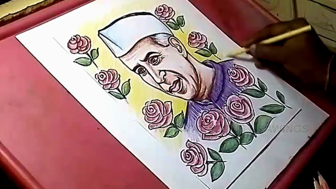 How to Draw Jawaharlal Nehru Color Sketch with Roses ...