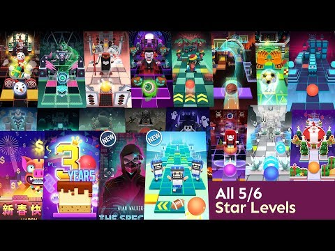 Rolling Sky All 5/6 Star Levels (Spectre,Footballs,Cube,1UP,Neon Etc.)
