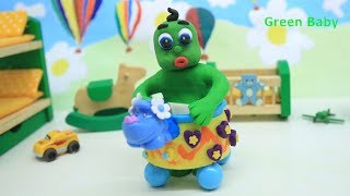 Green Baby LEARNS FIRST STEPS - Play Doh and Clay Stop Motion Cartoons For Kids