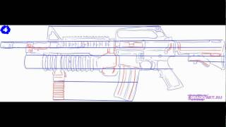 Как нарисовать поэтапно оружие м4 с подствольным гранатомётом.(Это видео создано в редакторе слайд-шоу YouTube: http://www.youtube.com/upload., 2015-06-16T19:55:05.000Z)