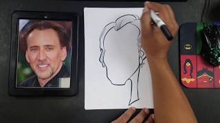 How to Draw a Caricature of Nicholas Cage