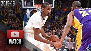 Kevin Durant Full Highlights vs Lakers (2016.04.11) - 34 Pts, Last Duel With Kobe Bryant!
