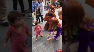 Little boy loves curious George at universal studios