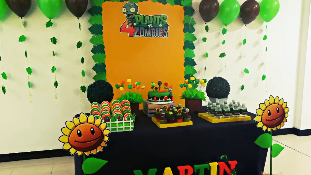 Decoracion plantas vs zombies fiesta infantil youtube for Decoracion con globos plantas contra zombies