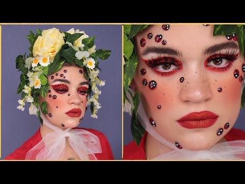 Ladybird makeup tutorial | Red lips & polka dot eyeliner thumbnail