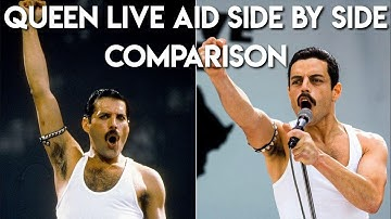 FULL Queen at LIVE AID Side By Side Comparison with Rami Malek (Bohemian Rhapsody 2018)