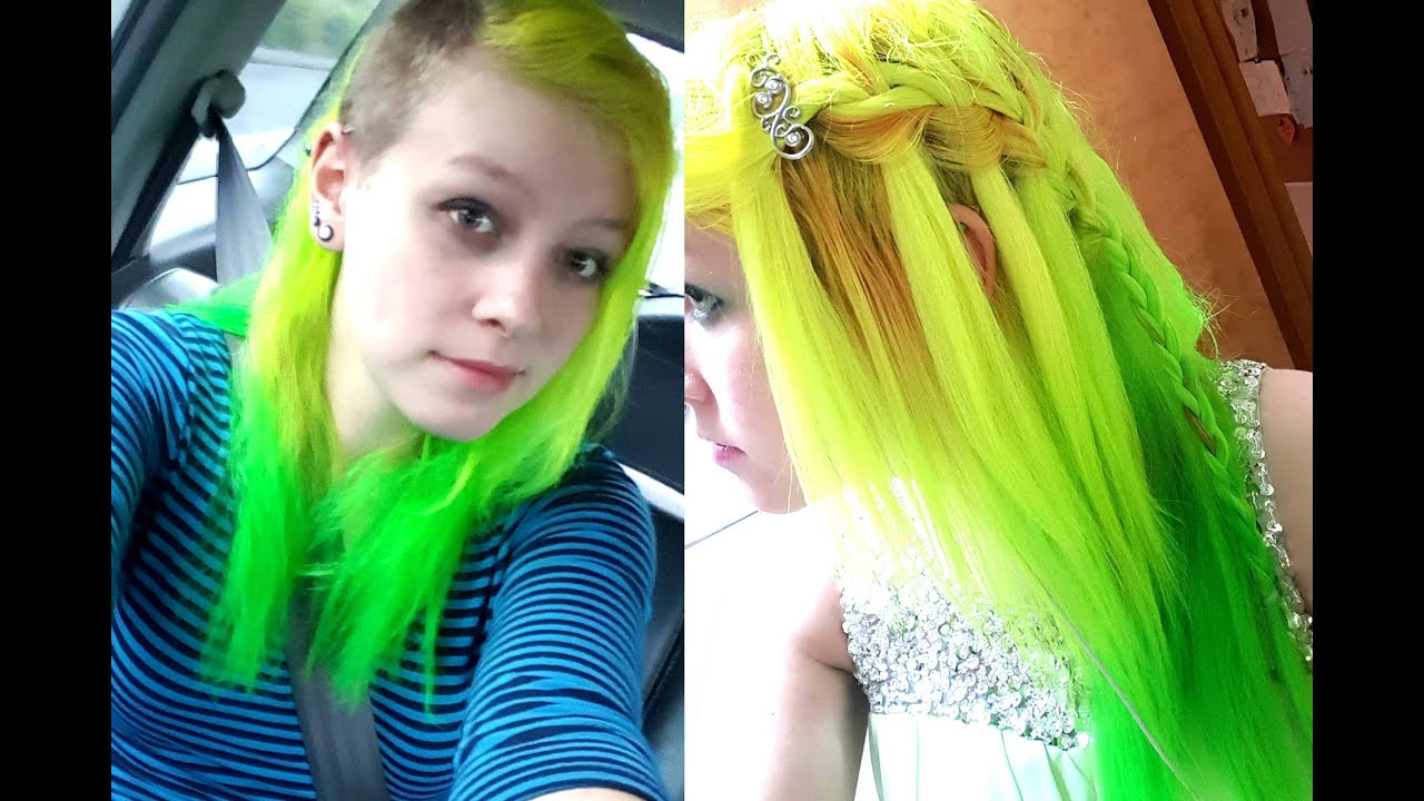 Neon Green and Yellow Hair Dye Tutorial
