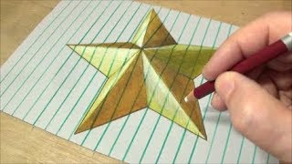 How to Draw Gold Star - Drawing 3D Star on Lined Paper - Vamos
