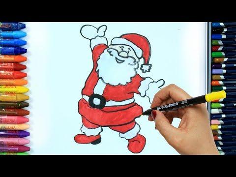 Come Disegnare E Colorare Babbo Natale 🎅 | Colori | Disegno | Colorare | Come Colorare Per Bambini