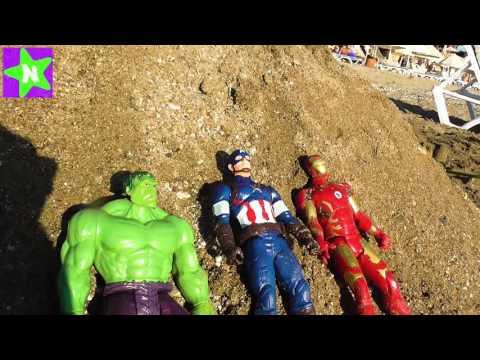 Халк. Халк против песчаной бури . Мультик игрушки супергерои Hulk, Spiderman, Aironman
