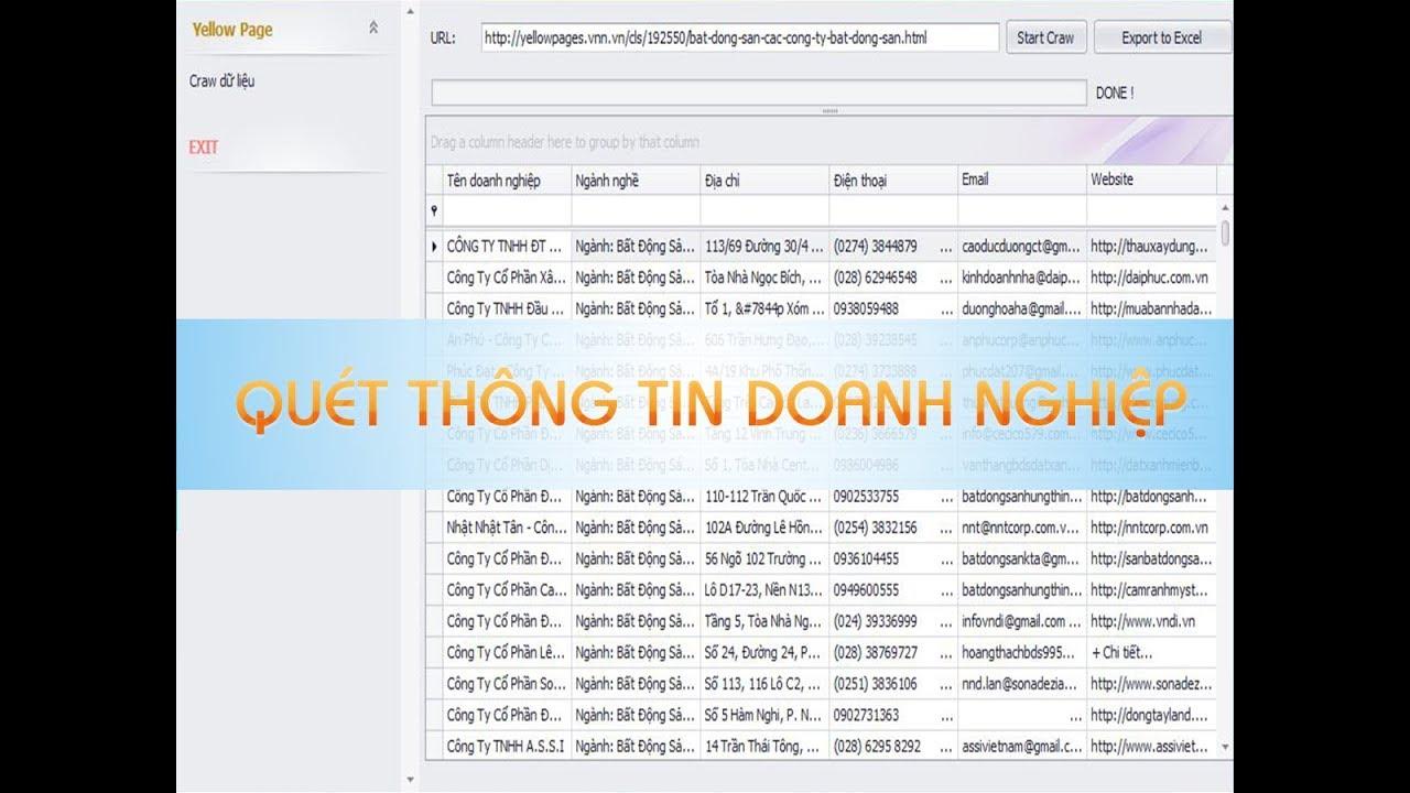 Phần mềm quét thông tin doanh nghiệp từ Trang Vàng
