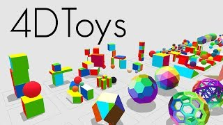 4D Toys: a box of four-dimensional toys, and how objects bounce and roll in 4D