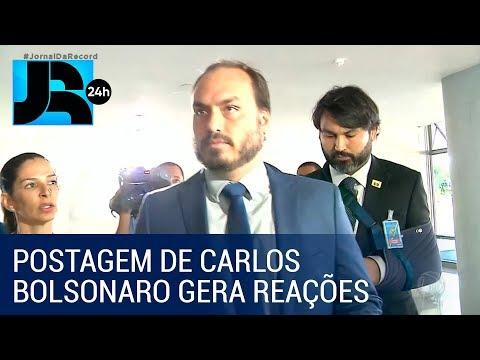 Mourão, Maia e Alcolumbre comentam postagem de Carlos Bolsonaro
