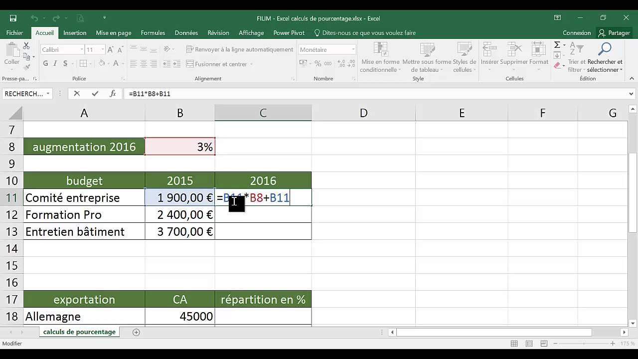 Excel Calculs De Pourcentage Youtube