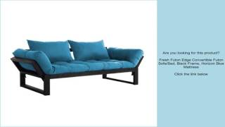 Fresh Futon Edge Convertible Futon Sofa/Bed, Black Frame, Horizon Blue Mattress