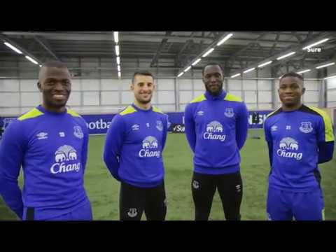 Chelsea and Manchester United target Romelu Lukaku takes on Everton team mates in shooting challenge
