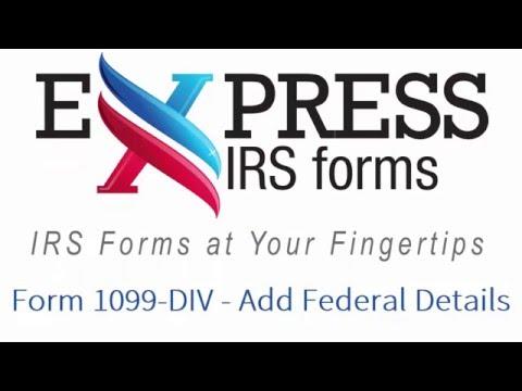 E-File Form 1099-DIV - Add Federal Details - YouTube