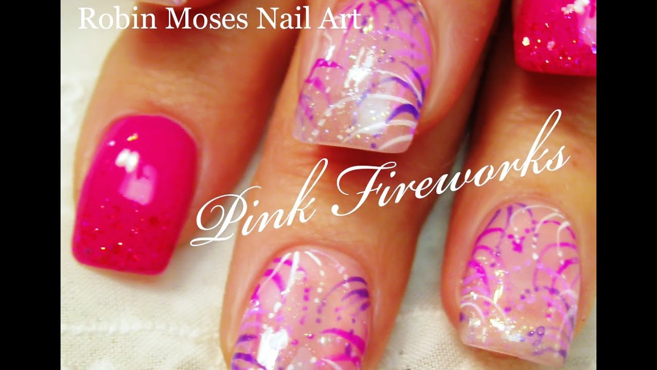 Diy Pink Firework Nails Cute And Easy Party Nail Art Design Tutorial Youtube