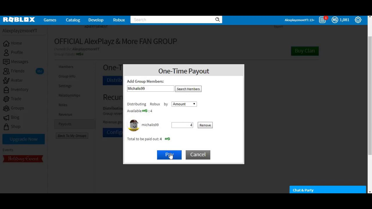 How To Put Or Give Group Funds On Roblox Youtube