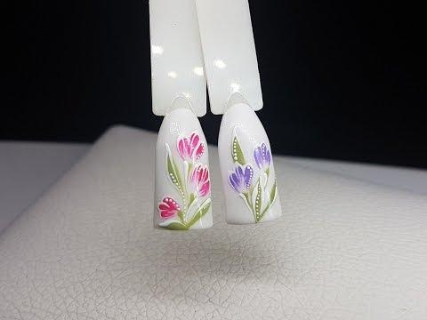 Весенний дизайн ногтей. Цветы #1. Рисуем пошагово.