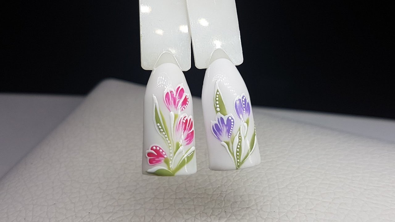 Дизайн ногтей цветы фото пошагово