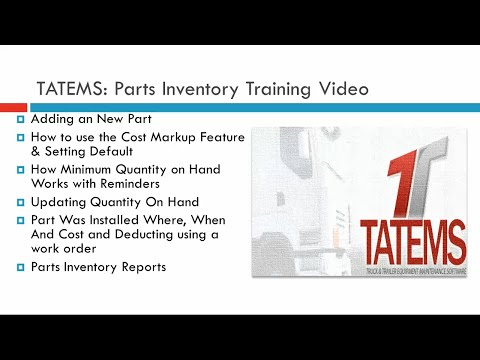 Fleet Maintenance Software TATEMS Parts Inventory Help