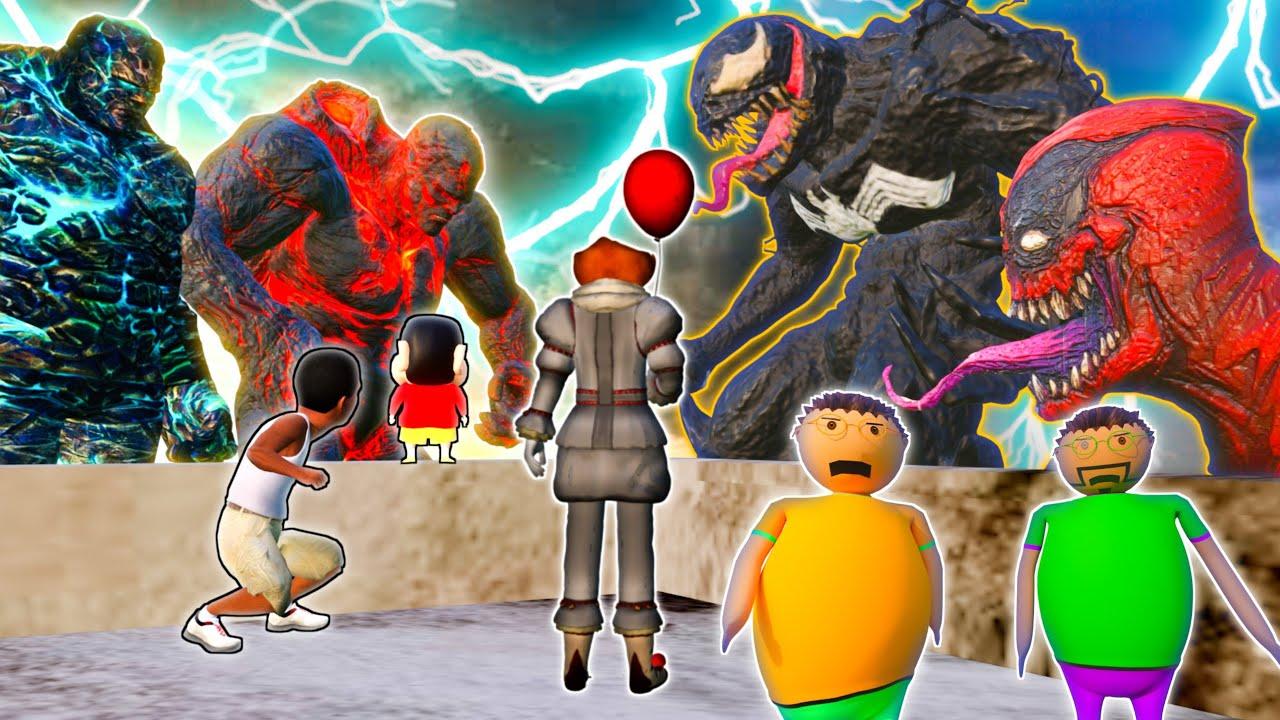 GTA 5 Horror Story : Gulli Bulli & Sinchan Fight With Venom LAVA GOD, ICE GOD, Dead Pool Venom