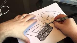 Drawing Star Trek   Enterprise D   ZenTangle   part 1