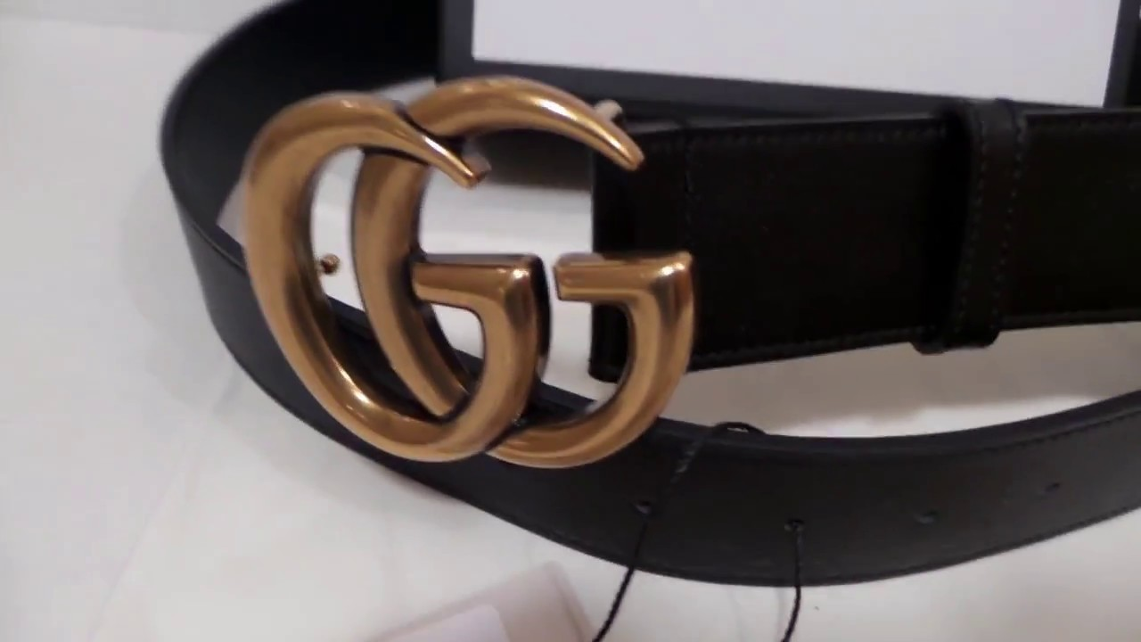 bfa7e6c32 Gucci Black Leather Belt New Style GG Gold Buckle New Unboxing - YouTube