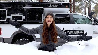 Winter Storm in a Trขck Camper - Living the Van Life - Four Wheel Hawk AEV Prospector 4x4