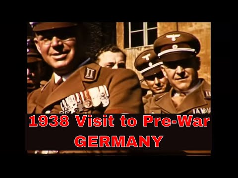 1938 TRIP TO NAZI ERA GERMANY / ADOLF HITLER REVIEWS PARADE IN COLOR  32750 HD