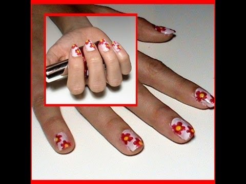 Nail Art Unas Decoradas Con Flores Rojas Nails Decorated With Red