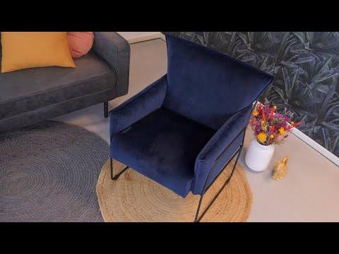 Moderne velvet fauteuil Lasse koper