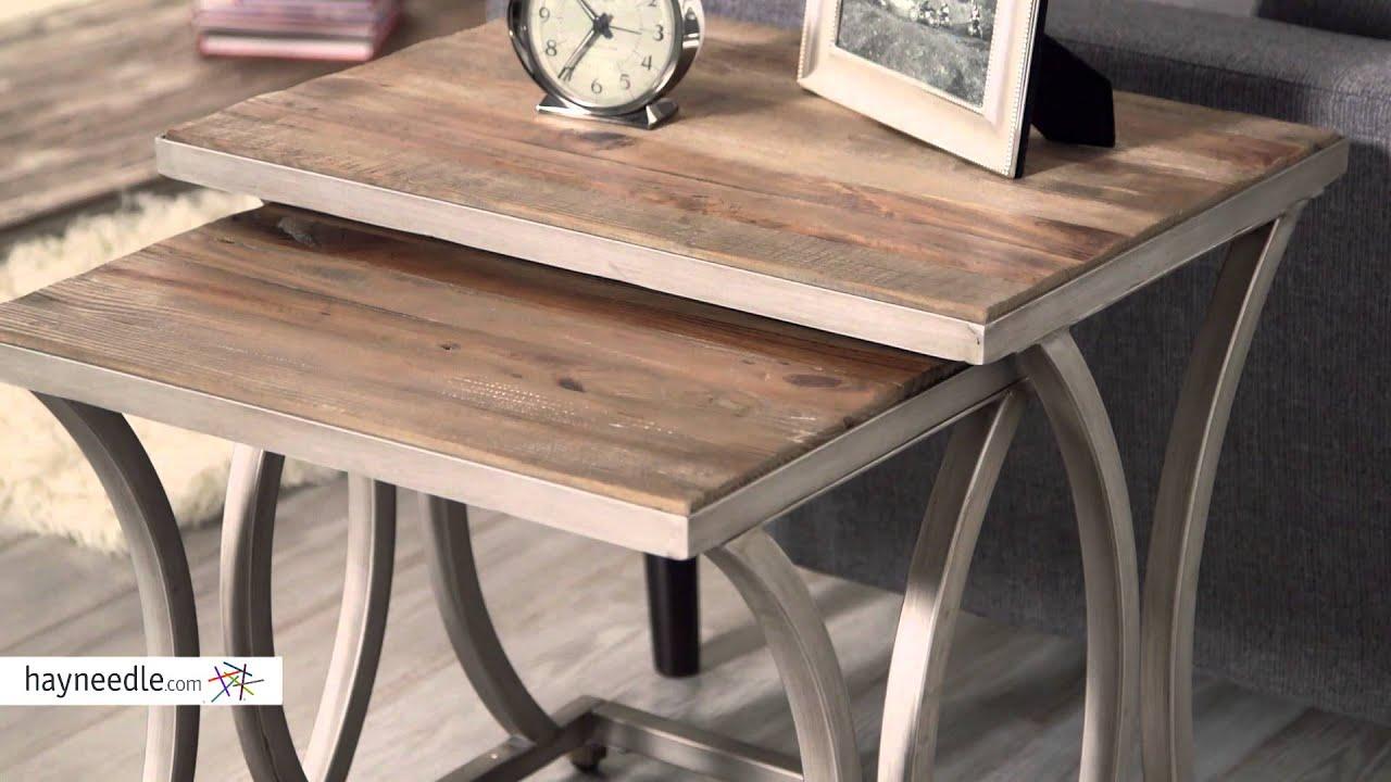 Belham Living Edison Reclaimed Wood Nesting Tables   Product Review Video