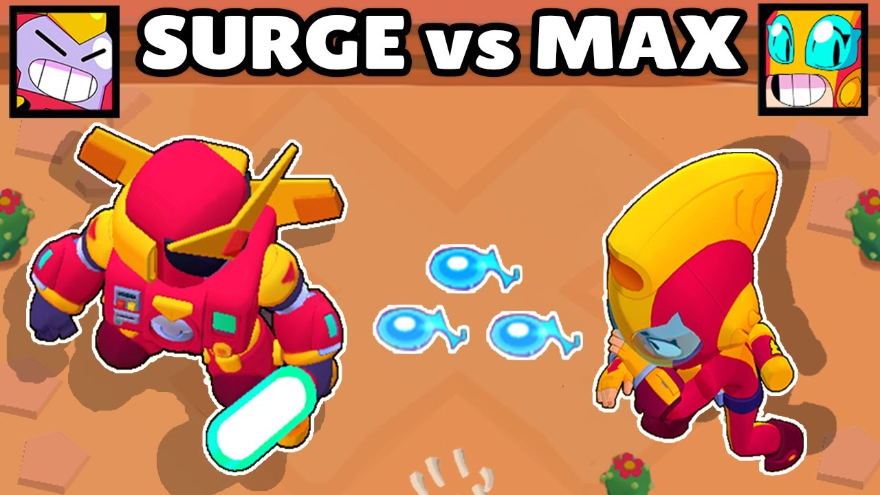 SURGE vs MAX | 1vs1 | NUEVO BRAWLERS BRAWL STARS | CUAL ES EL MEJOR HÉROE?
