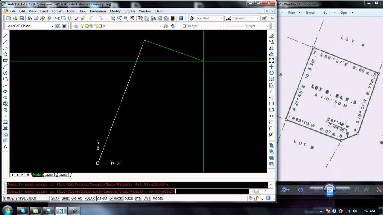 Autocad Drawing Lines With Coordinates : How to plot lot bearing in autocad youtube