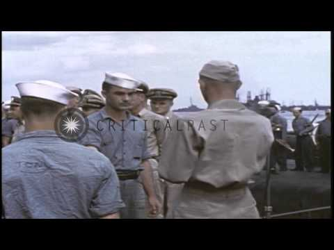 United States Navy Fleet Admiral Chester William Nimitz presenting citations to c...HD Stock Footage