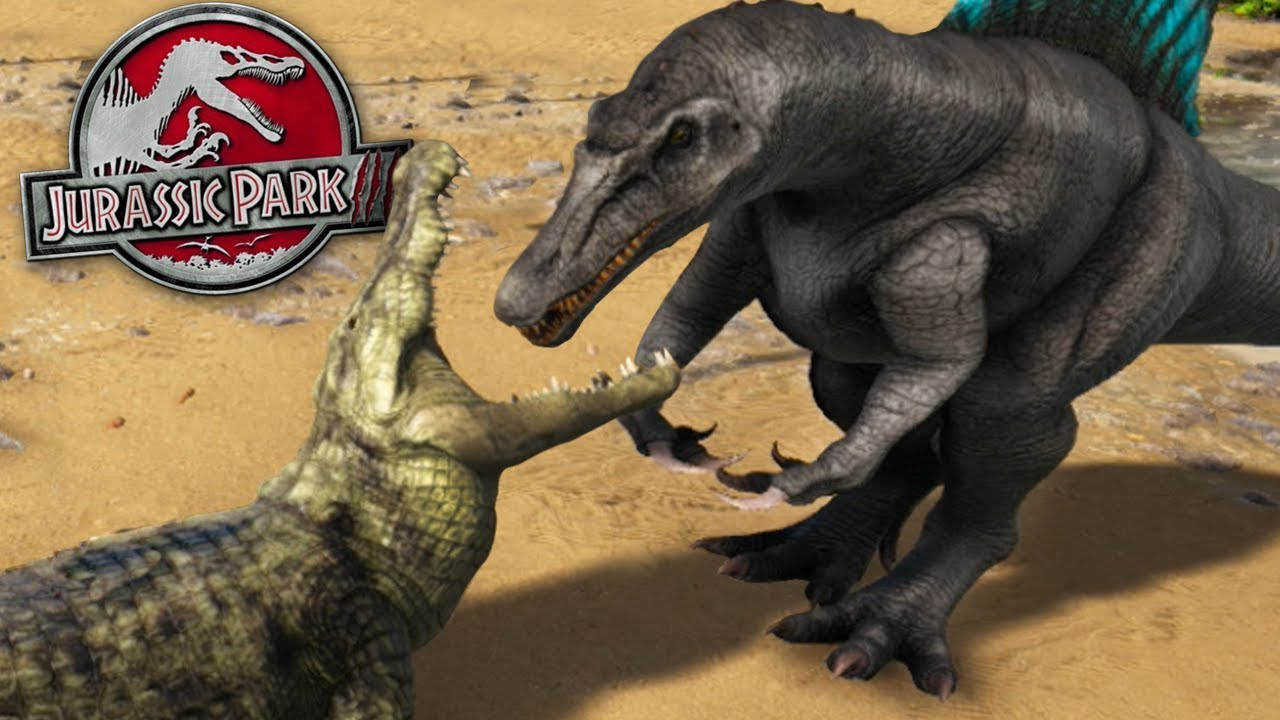 jurassic park 3 spinosaurus vs super croc ark survival