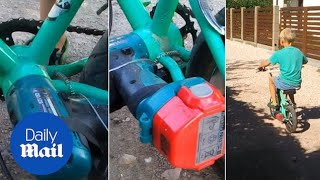 Dad turns kid's bike into an electric scooter with his drill - Daily Mail