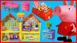 佩佩豬粉紅豬小妹一家開著汽車買新家具的玩具故事!