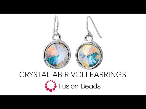 See how easy it is to make these Crystal AB Rivoli Earrings by Fusion Beads