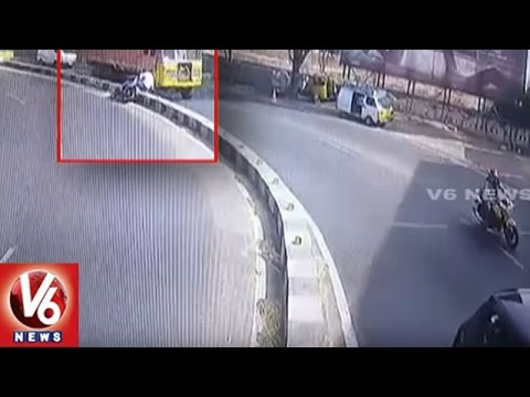 Exclusive CCTV Visuals | Road Accident In Bowenpally | 2 Died And 1 Injured | V6 News