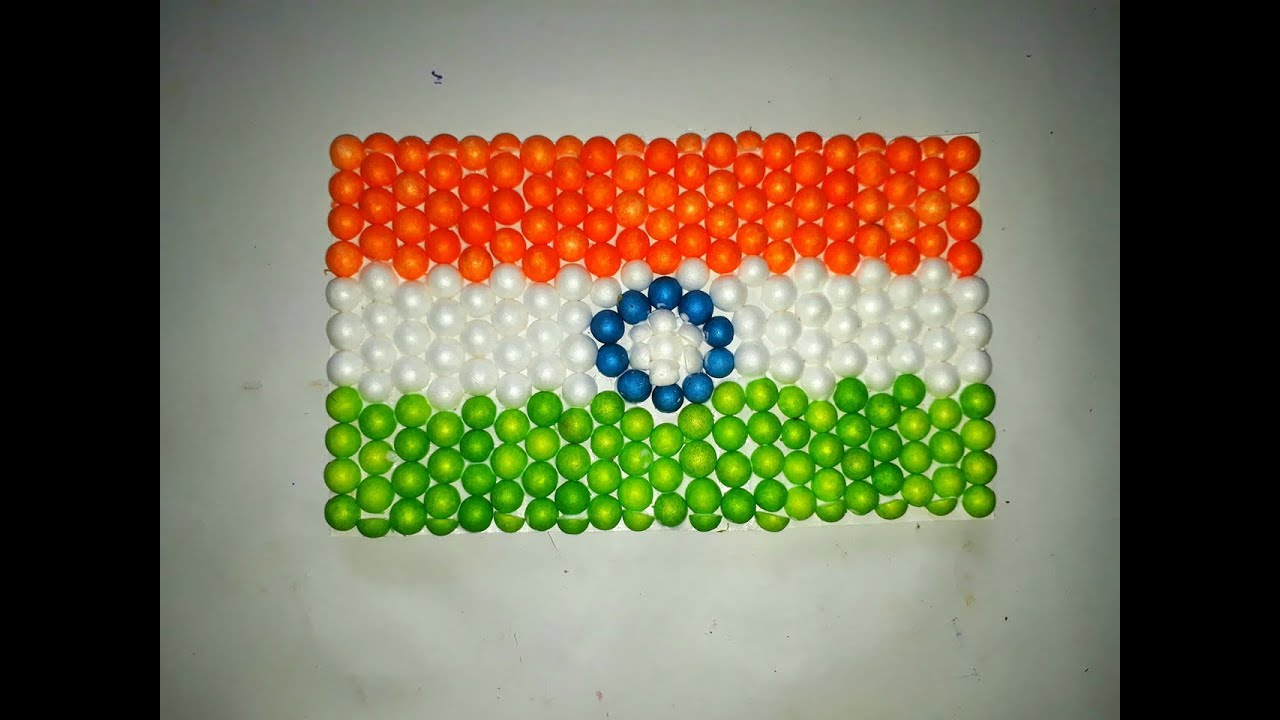 Craft For Flag Of India: Indian Flag Making With Thermocol Balls. Indian Flag Art