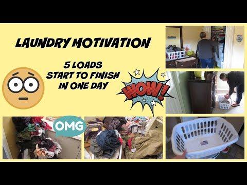 Laundry Motivation -- Five Loads of Laundry Start To Finish