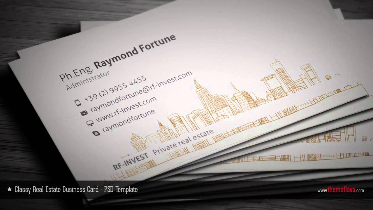 Real estate business card photoshop template youtube real estate business card photoshop template reheart Choice Image